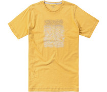 Herren T-Shirt Baumwolle gelb gemustert