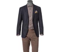 Herren Sakko Modern Fit Wolle-Seide nachtblau meliert