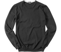Herren Pullover Slim Fit Baumwolle schwarz