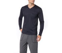 Herren Schlafanzug Longsleeve Baumwolle navy gemustert blau
