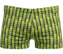 Herren Bademode Badetrunk, Microfaser, grün gemustert