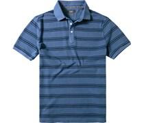 Herren Polo-Shirt Baumwoll-Piqué rauchblau gestreift