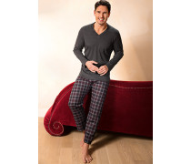Herren Schlafanzug Pyjama Baumwolle anthrazit-bordeaux kariert grau