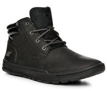 Herren Schuhe Schnürstiefeletten, Nubukleder, schwarz