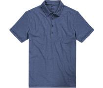 Herren Polo-Shirt Baumwolle blau meliert