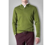 Herren Polo-Pullover Wolle grün