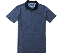 Herren Polo-Shirt Modern Fit Baumwoll-Jersey marineblau gestreift