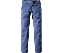 Herren Hose Chino Regular Fit Baumwoll-Stretch dunkelblau