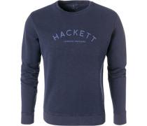Herren Sweatshirt, Baumwolle, marine meliert blau