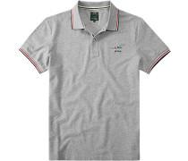 Herren Polo-Shirt Slim Fit Baumwoll-Piqué grau