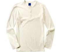 Herren T-Shirt Longsleeve Slim Fit Baumwolle ecrue