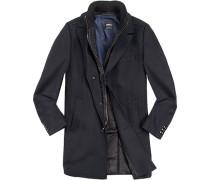 Herren strellson Premium Mantel Ellson Wolle-Mix mit Kaschmir marineblau gestreift blau,schwarz