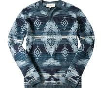 Herren Pullover Baumwollstrick blau gemustert