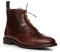 Herren Schuhe Stiefelette, Leder, rotbraun