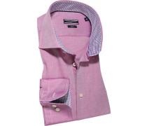 Herren Hemd Fitted Baumwolle fuchsia meliert rosa