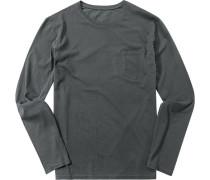 Herren T-Shirt Longsleeve Tailored Fit Baumwolle Mit Rückenprint dunkelgrau