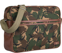 Herren FRED PERRY Umhängetasche Canvas-Kunstleder camouflage grün