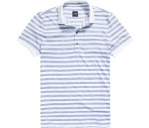 Herren Polo-Shirt, Baumwoll-Jersey, rauchblau-weiß gestreift