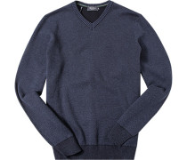 Herren Pullover Baumwolle denim meliert blau