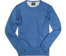 Herren Pullover Seide-Baumwolle azurblau meliert