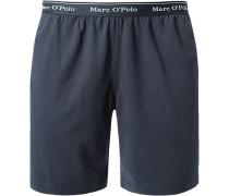 Herren Schlafanzug Bermudas Baumwolle marine blau,blau