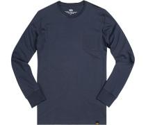 Herren T-Shirt Longsleeve Baumwolle navy blau