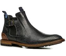 Herren Schuhe Chelsea Boots Kalbleder dunkelblau gemustert