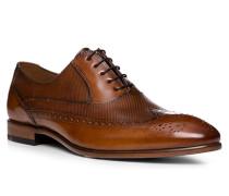 Herren Schuhe Oxford, Kalbleder, cognac braun