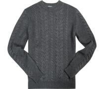 Herren Pullover Wolle grau meliert