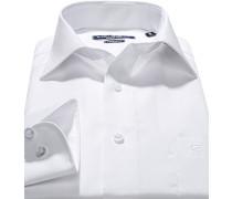 Herren Hemd, Modern Fit, Popeline, Extra langer Arm, weiß