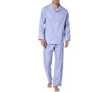 Herren Schlafanzug Pyjama, Baumwolle, blau meliert