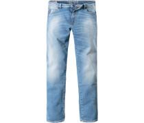 Herren Jeans, Slim Fit, Baumwoll-Stretch 11 oz, hellblau