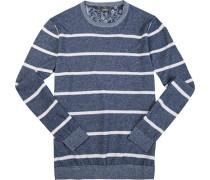 Herren Pullover Leinen-Baumwolle rauch-weiß gestreift