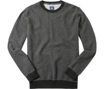 Herren Pullover Baumwolle marine-weiß gemustert blau