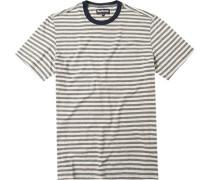 Herren T-Shirt, Baumwolle, ecru-grau gestreift