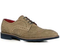 Herren Schuhe Budapester Veloursleder beige beige,rot