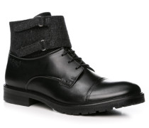 Herren Schuhe Stiefeletten Leder-Textil schwarz