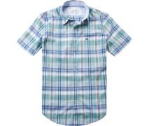 Herren Hemd Regular Fit Popeline blau-grün kariert
