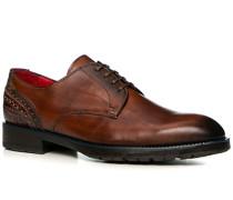 Herren Schuhe Derby Leder gebrusht cuoio braun,rot