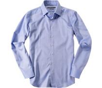 Herren Hemd Shaped Fit Strukturgewebe royal meliert blau