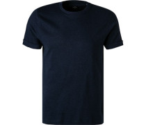 T-Shirt Classic Fit Baumwolle navy meliert