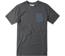 Herren T-Shirt Baumwoll-Mix anthrazit meliert grau