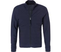Herren Cardigan Microfaser-Baumwolle navy blau