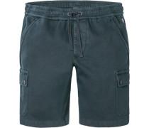 Herren Hose Cargoshorts, Regular Fit, Baumwoll-Jersey, navy blau
