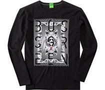 Herren T-Shirt Longsleeve Modern Fit Baumwolle schwarz schwarz,schwarz