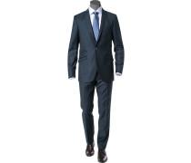 Herren Anzug Slim Fit Wolle blaugrau meliert