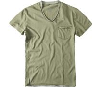 Herren T-Shirt, Baumwolljersey, khaki grün