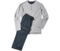 Herren Schlafanzug Pyjama Baumwolle grau-navy blau,grau