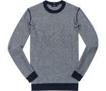 Herren Pullover Regular Fit Baumwoll-Schurwolle navy-weiß meliert blau