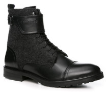 Herren Schuhe Stiefelette Leder-Textil schwarz
